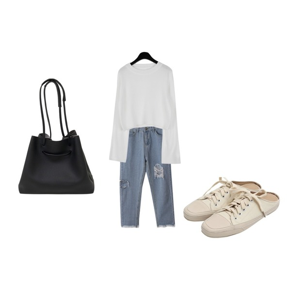 daily monday Candy color crop knit,From Beginning Canvas sneakers mule_K (size : 225,230,235,240,245,250),BACHO 쥬드 연청 데님팬츠등을 매치한 코디