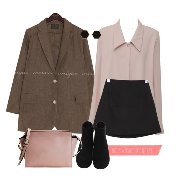 Pink Tape,From Beginning Drop collar shirts blouse_B (size : free),common unique VERON LINEN SINGLE JACKET등을 매치한 코디