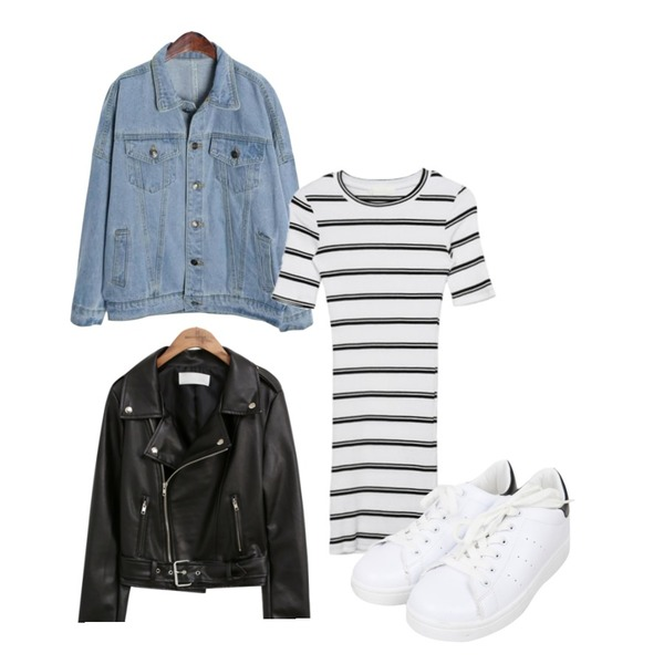 ROCOSIX casual over denim jacket,MIXXMIX 단가라 골지 원피스,common unique MINIMAL SOFT RIDER JACKET등을 매치한 코디