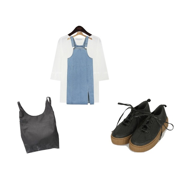 daily monday Long suspender slit one-piece,common unique [TOP] BONIS BOAT NECK 1/2 KNIT - 2 TYPE,somedayif solid sneakers (2colors)등을 매치한 코디