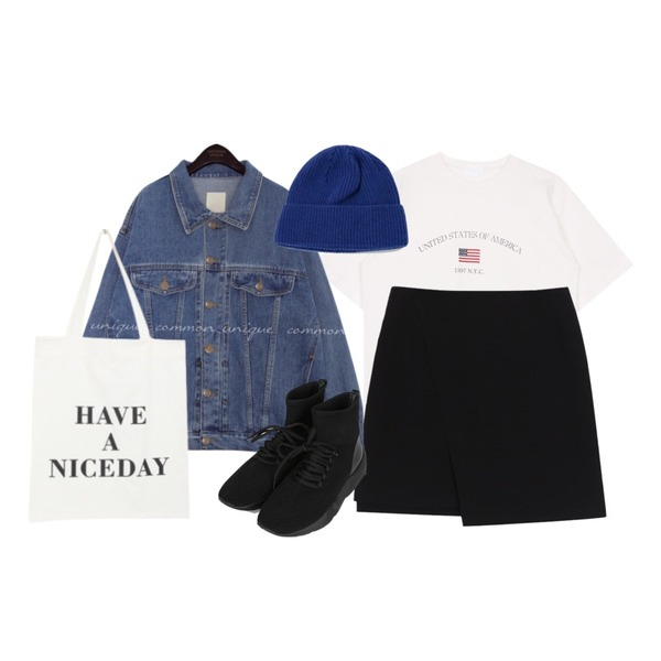 biznshoe USA tee (2color),common unique HADER BOXY DENIM JACKET,biznshoe Unbalance mini skirt (2colors)등을 매치한 코디