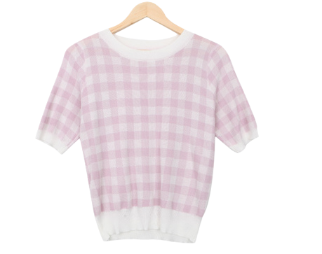 Gingham check knit short sleeve