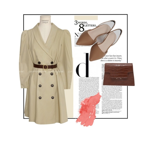 18,common unique [OPS] DELT PUFF BELT SET TRENCH OPS,From Beginning Sling back stiletto shoes_Y (size : 225,230,235,240,245,250)등을 매치한 코디