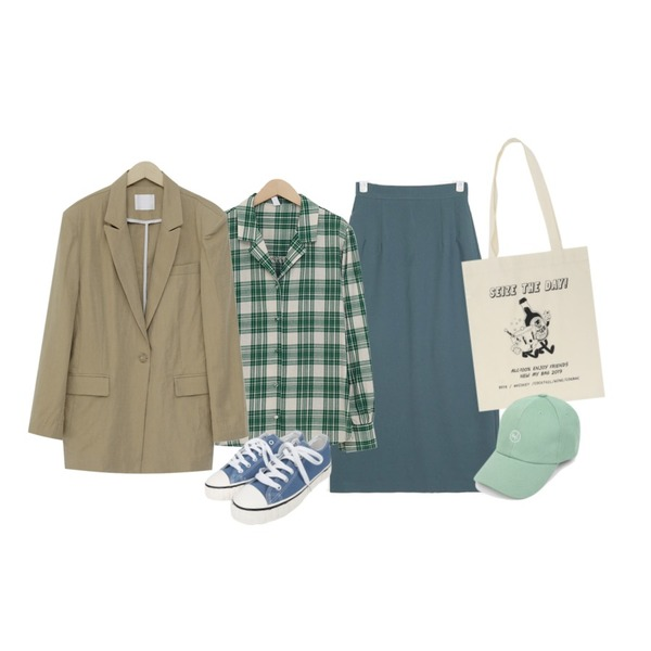 From Beginning Soft linen cotton jacket_K (size : free),AIN eight slit H-line skirt (s, m),From Beginning Holiday tartan check shirts_M (size : free)등을 매치한 코디