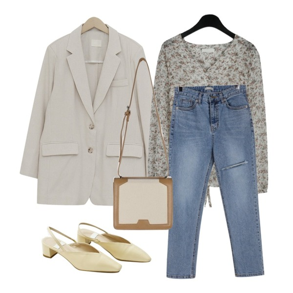 daily monday Ripped point denim,daily monday Lovely flower ribbon blouse,From Beginning Billy over linen jacket_K (린넨 25%) (size : free)등을 매치한 코디
