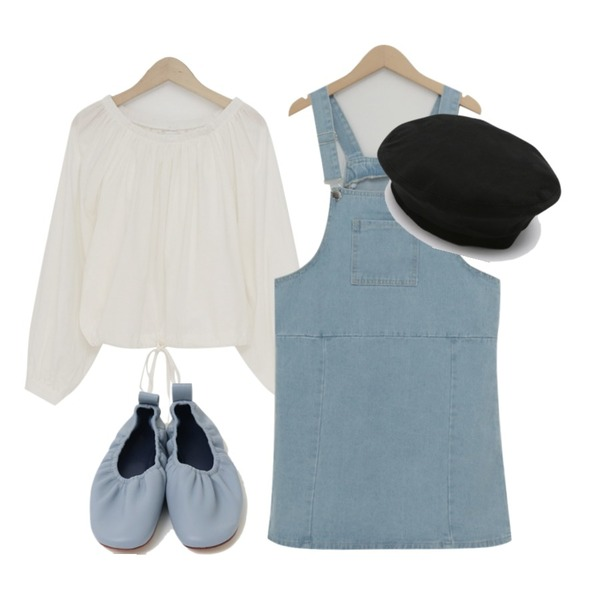 From Beginning Crease banding color shoes_M (size : 230,235,240,245,250),From Beginning Casual cotton overall ops_Y (size : M,L),From Beginning Simple off-shoulder blouse_M (size : free)등을 매치한 코디