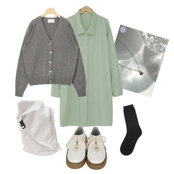 AIN muji long socks,lavenir (silver925) mone necklace,From Beginning Fruit mini shirts ops_B (size : free)등을 매치한 코디