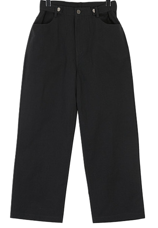 Button wide cotton pants