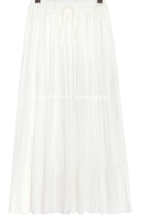 FOLD WRINKLE BANDING LONG SKIRT