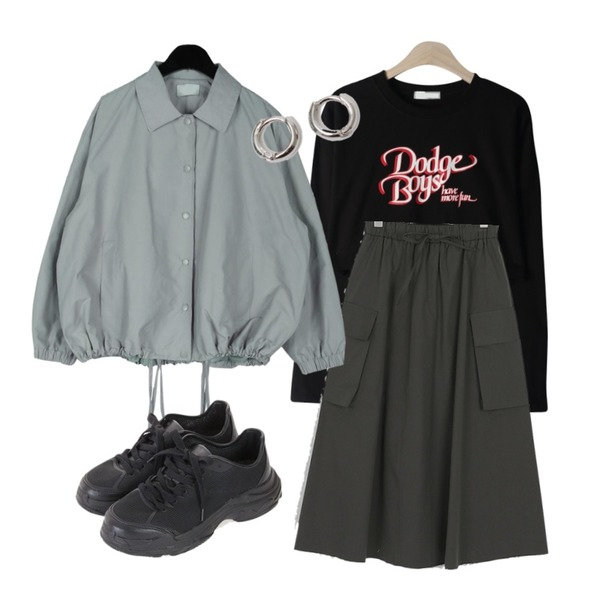 daily monday Log string jumper,somedayif natural cargo banding long skirt (2colors),GIRLS RULE 보이 크롭 긴팔 티셔츠 (t6231)등을 매치한 코디