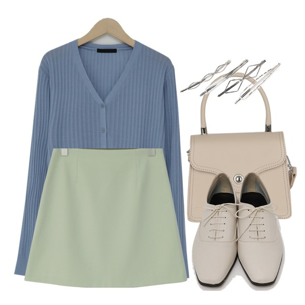 somedayif settle stitch tote cross bag (4colors),From Beginning Pastel color mini skirt_M (size : S,M),From Beginning Golgi loose fit cardigan_M (size : free)등을 매치한 코디