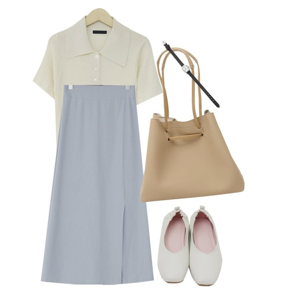 From Beginning Soft big tote bag_K (size : one),From Beginning Mine slit long skirt_K (size : free),From Beginning Wide collar button knit_K (size : free)등을 매치한 코디