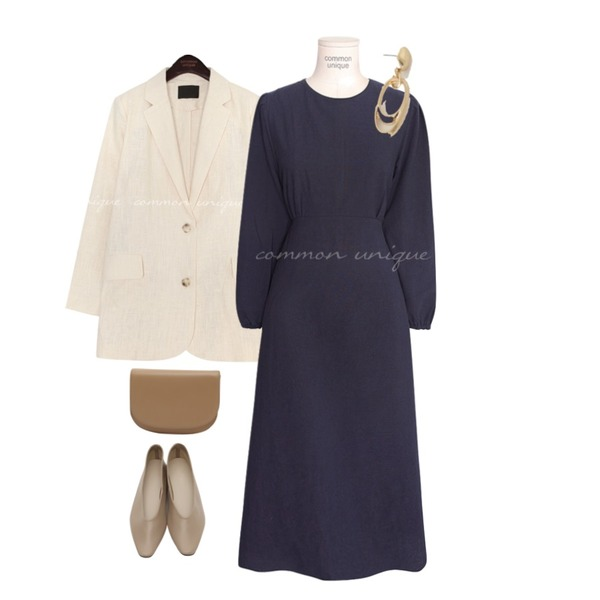 From Beginning Milky simple flat shoes_J (size : 230,235,240,245,250),common unique RIELL PUFF STRAP LONG OPS,common unique VERON LINEN SINGLE JACKET등을 매치한 코디