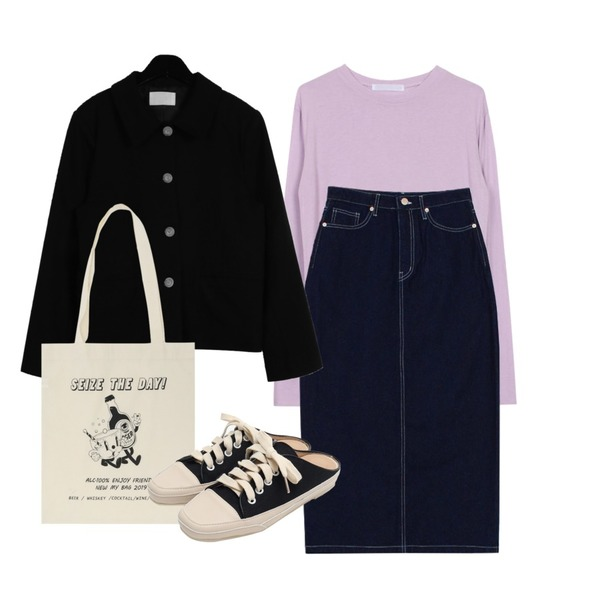 daily monday Single Button Jacket,biznshoe Strap denim long skirt (2colors),biznshoe Soft round tee (6colors)등을 매치한 코디