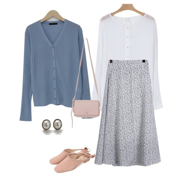 From Beginning Golgi loose fit cardigan_M (size : free),daily monday Flower slim fit a line long skirt,somedayif morning through blouse (2colors)등을 매치한 코디