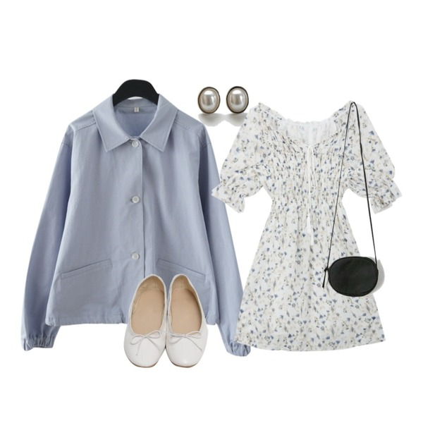 daily monday Delicate pearl earrings,AFTERMONDAY simple string short jacket (2colors),MIXXMIX 살랑 수술 오프 원피스등을 매치한 코디