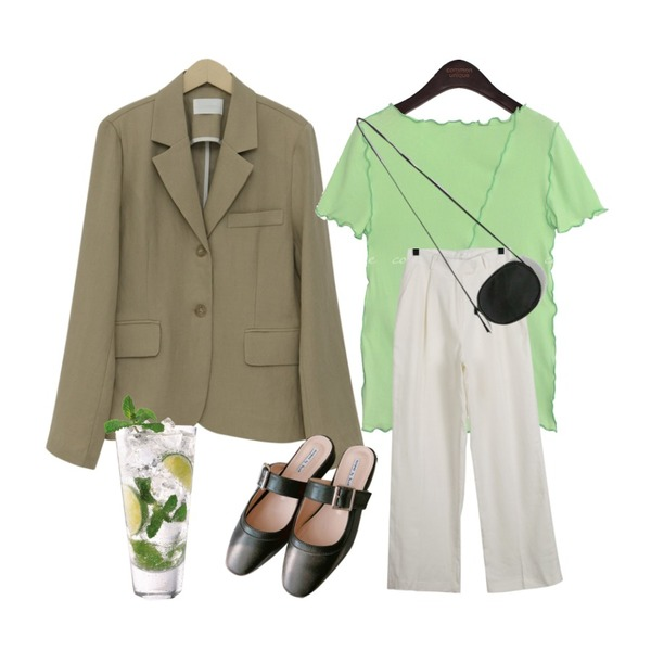 daily monday Modern linen slacks,From Beginning Sand linen single jacket_S+pants_S (린넨 100%) (size : free),common unique RONELL WAVE BOAT NECK 1/2 T등을 매치한 코디