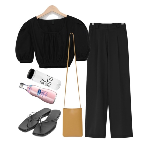 From Beginning Slosh wide cool slacks_B (size : S,M,L),From Beginning Muse crop banding blouse_B (size : free),From Beginning Lounge pocket closs bag_S (size : one)등을 매치한 코디
