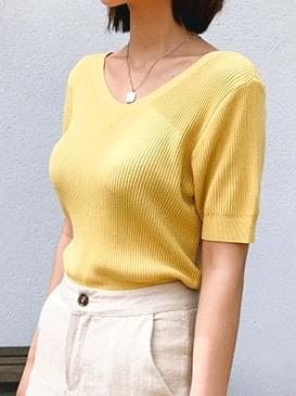Andy Square & V-neck short sleeve knit
