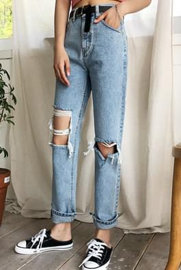 Denim pants in front and back