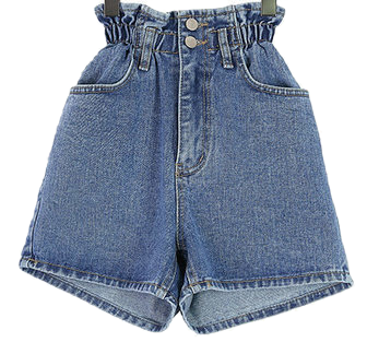Two-button bending denim shorts