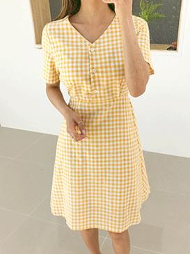 Check Mellow Button Dress