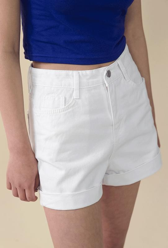 Cotton roll-up short pants