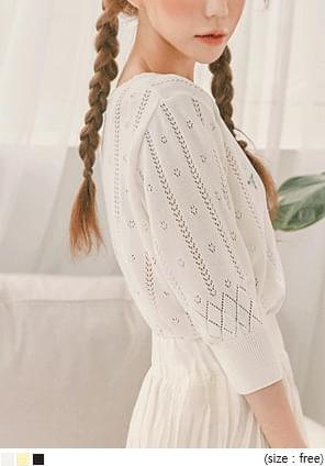 DAKO FLOWER NEEDLE KNIT CARDIGAN