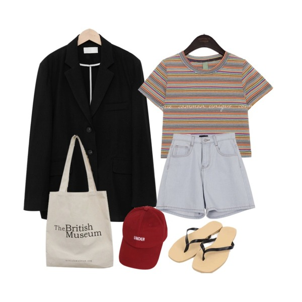From Beginning Main linen boxy jacket_K (린넨 55%) (size : free),AWAB 썬키와이드팬츠,common unique BETIN COLOR MIX STRIPE CROP 1/2 T등을 매치한 코디