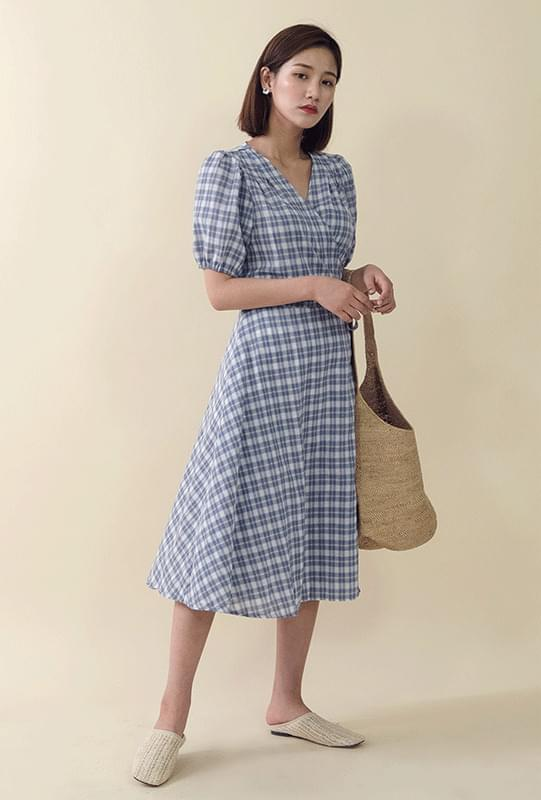 Check Pattern Wrap Long Dress