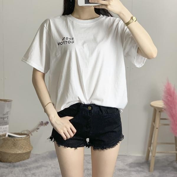 Cotton Lettering Round Tee