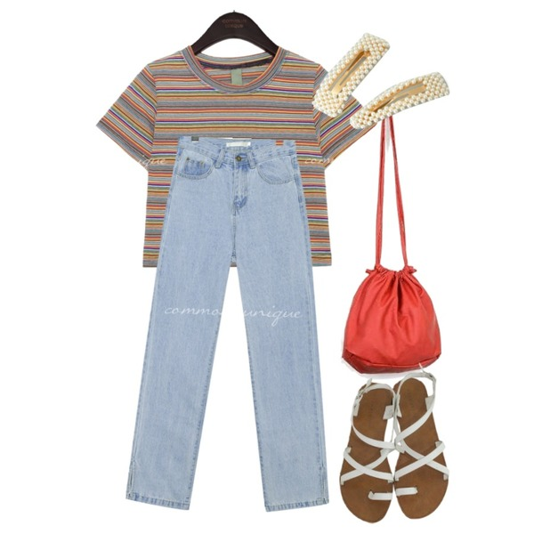 AIN poky mini bag,common unique VERRE SIDE SLIT LONG DENIM PANTS,common unique BETIN COLOR MIX STRIPE CROP 1/2 T등을 매치한 코디