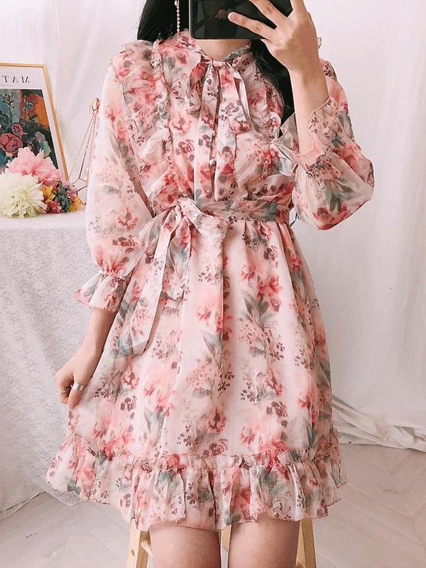 Ely flower chiffon dress