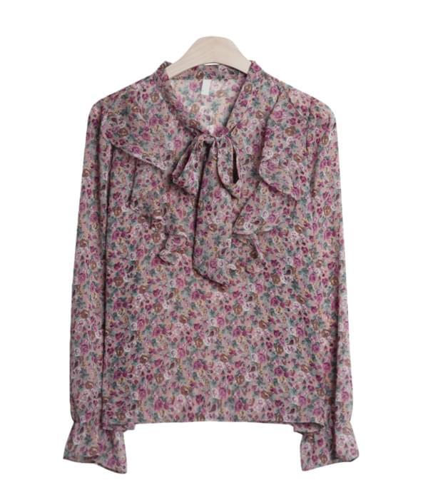 Yorou flower ribbon blouse