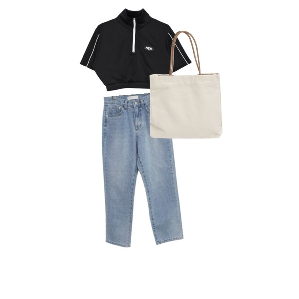 From Beginning Clear canvas tote bag_K (size : one),MIXXMIX HIDE Piping Zipup Crop Top,BITDA 빌리브 denim등을 매치한 코디