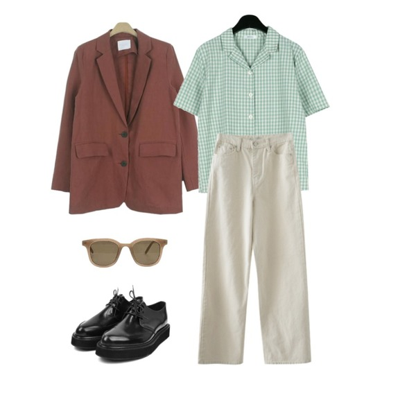 about moon 포멀 린넨 자켓 (3 color),daily monday Daily check half shirts,AFTERMONDAY comfy mood straight pants등을 매치한 코디