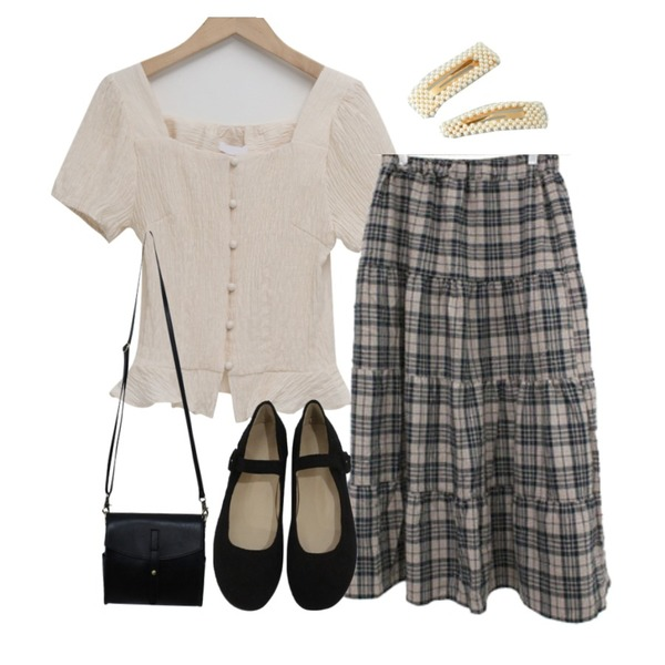 From Beginning Square-neck smock blouse_Y (size : free),BITDA 노르웨이 shoes (2color),BITDA 칸쵸 skirt (2color)등을 매치한 코디
