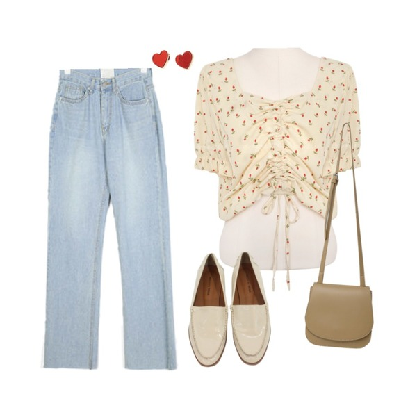 AIN alive light long denim pants (s, m),common unique ION FLOWER STRING CHIFFON 1/2 BLOUSE,BITDA 리보 sh (아이보리)등을 매치한 코디