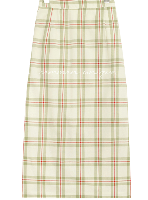 JESS CHECK BANDING LONG SKIRT