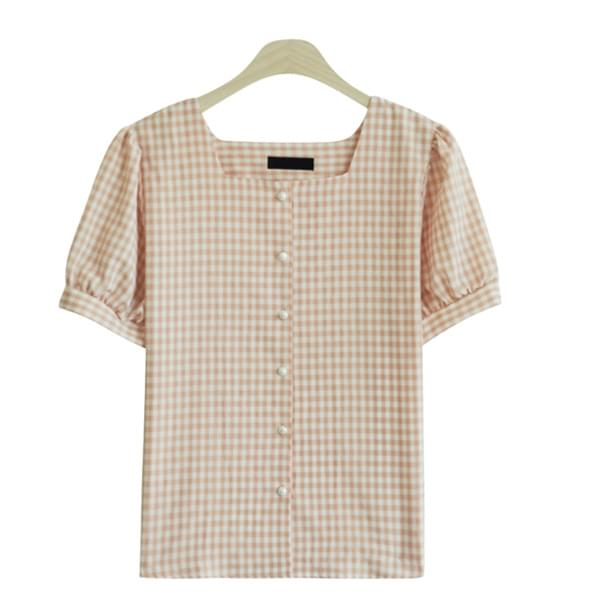 Loin Linen Square Check Blouse