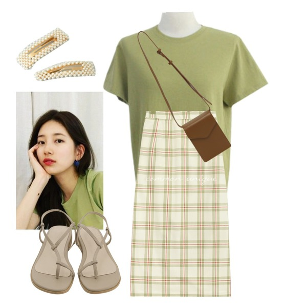 g,common unique JESS CHECK BANDING LONG SKIRT,BITDA daily round tee (6color)등을 매치한 코디