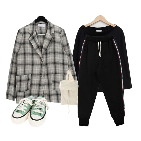 From Beginning Basic off-shoulder T_K (size : free),daily monday Check linen single jacket,MIXXMIX 에피 테잎 바지등을 매치한 코디