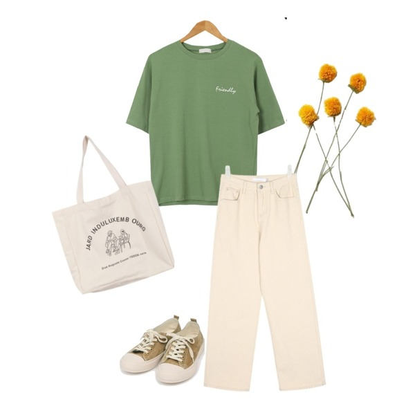 yellow flower,AIN rich ivory long cotton pants (s, m),AWAB 듀오누피라운드티등을 매치한 코디