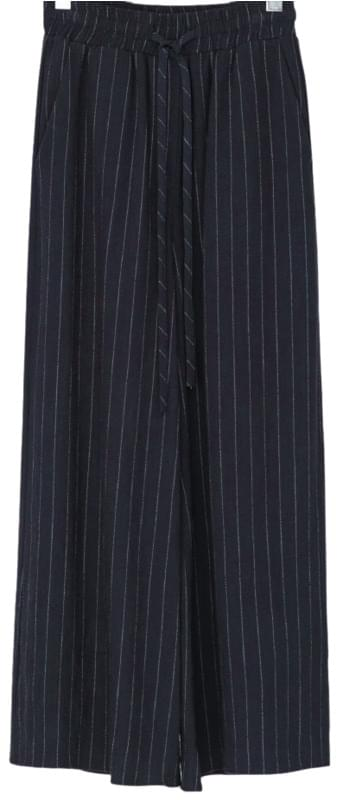 Striped Wide Linen Bending Pants-pt