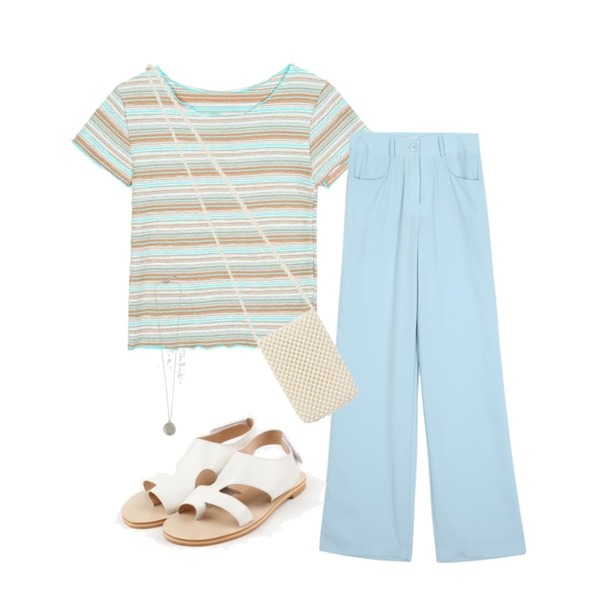 daily monday Velcro summer sandal,openthedoor wave slim stripe 1/2 T (3 color) - woman,openthedoor french long slacks (3 color) - woman등을 매치한 코디