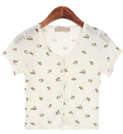 Flower pattern cropped shirt