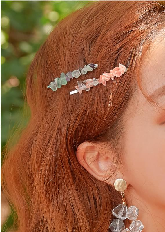 HARY COLOR STONE HAIR PIN