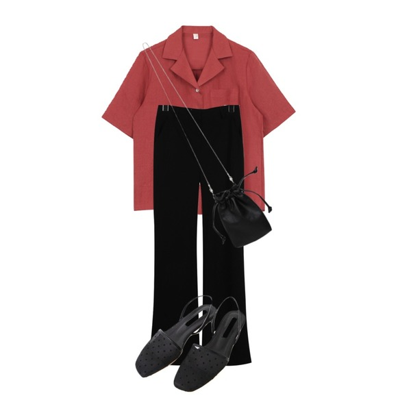AFTERMONDAY mesh square toe shoes (2colors),daily monday Slim straight long slacks,biznshoe Linen collar shirts (5colors)등을 매치한 코디