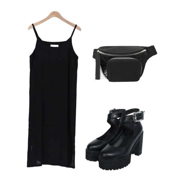 openthedoor strap  high pumps shoes,openthedoor mini fanny bag,BANHARU 1/2 day ops #205등을 매치한 코디