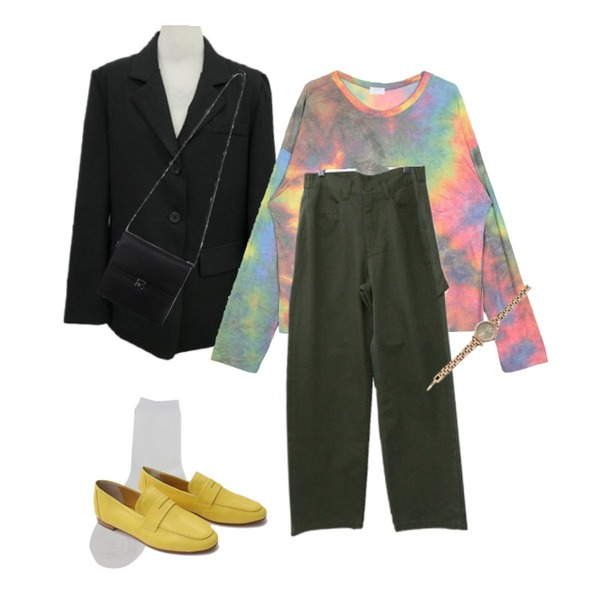 openthedoor rainbow tie-dye wrinkle T - woman,BITDA 밀리 pants (3color),BITDA 런던여행 jacket (3color)등을 매치한 코디